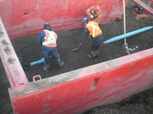 Installation de conduites d'égout sanitaire