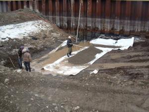 Préparation du terrain sous la rampe